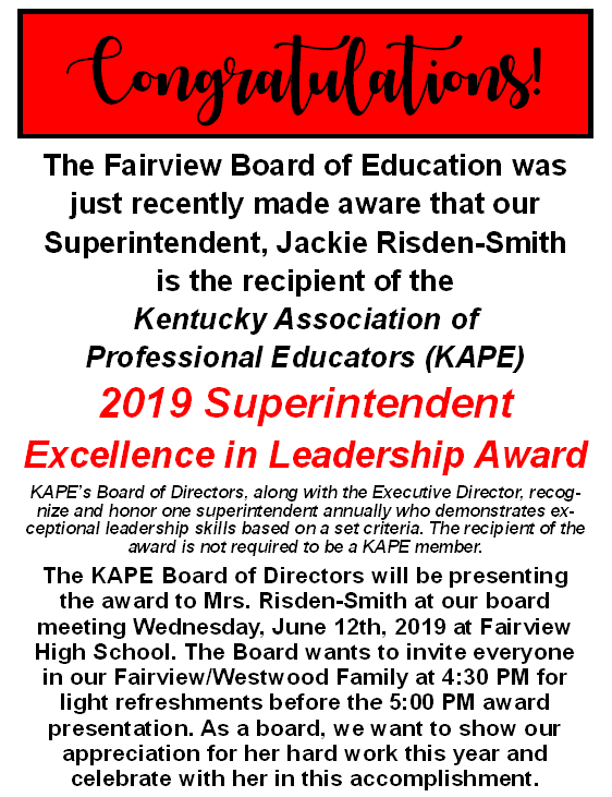 Superintendent Smith Recognition by KAPE