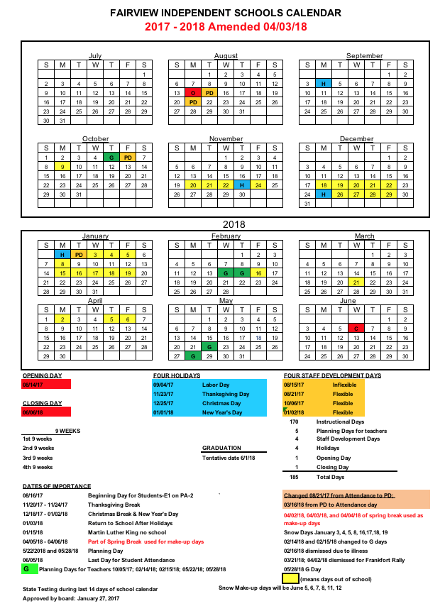 Amended School Calendar as of April 3 2018